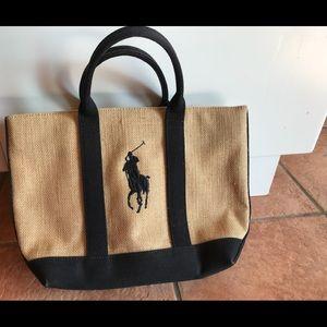 Ralph Lauren Jute Canvas Mini Tote Bag